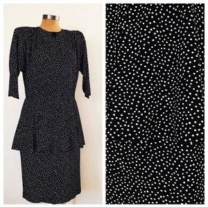 Vintage B&W Polka Dot Peplum Dress